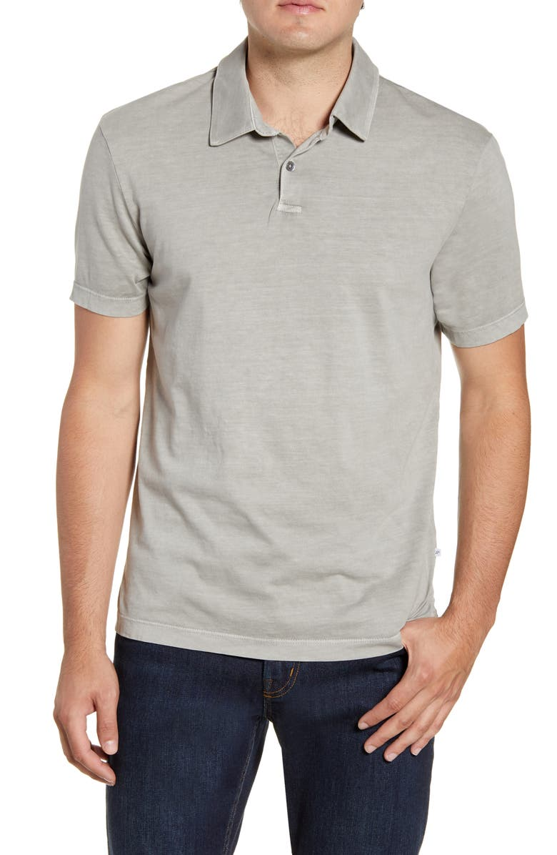 JAMES PERSE Slim Fit Sueded Jersey Polo, Main, color, 020