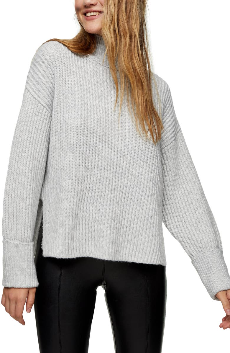 TOPSHOP Mock Neck Crop Sweater, Main, color, GREY MARL