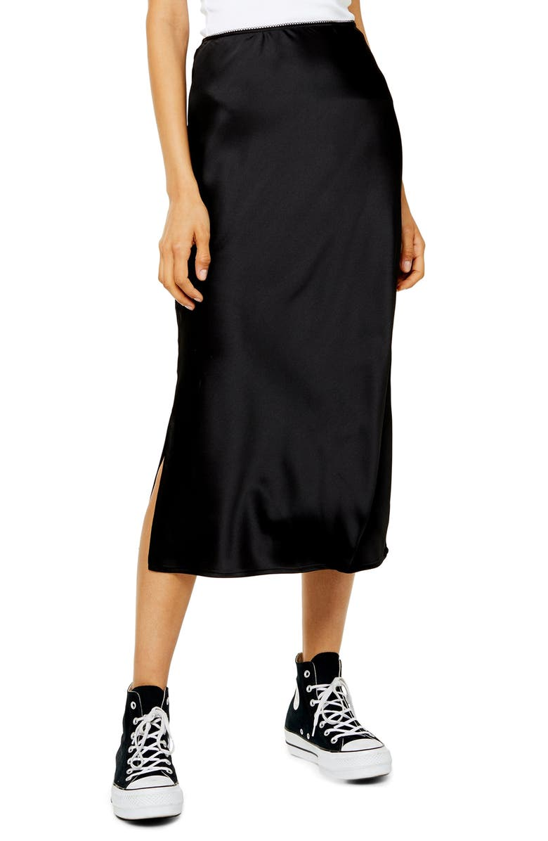 TOPSHOP Slit Bias Cut Satin Midi Skirt, Main, color, 001