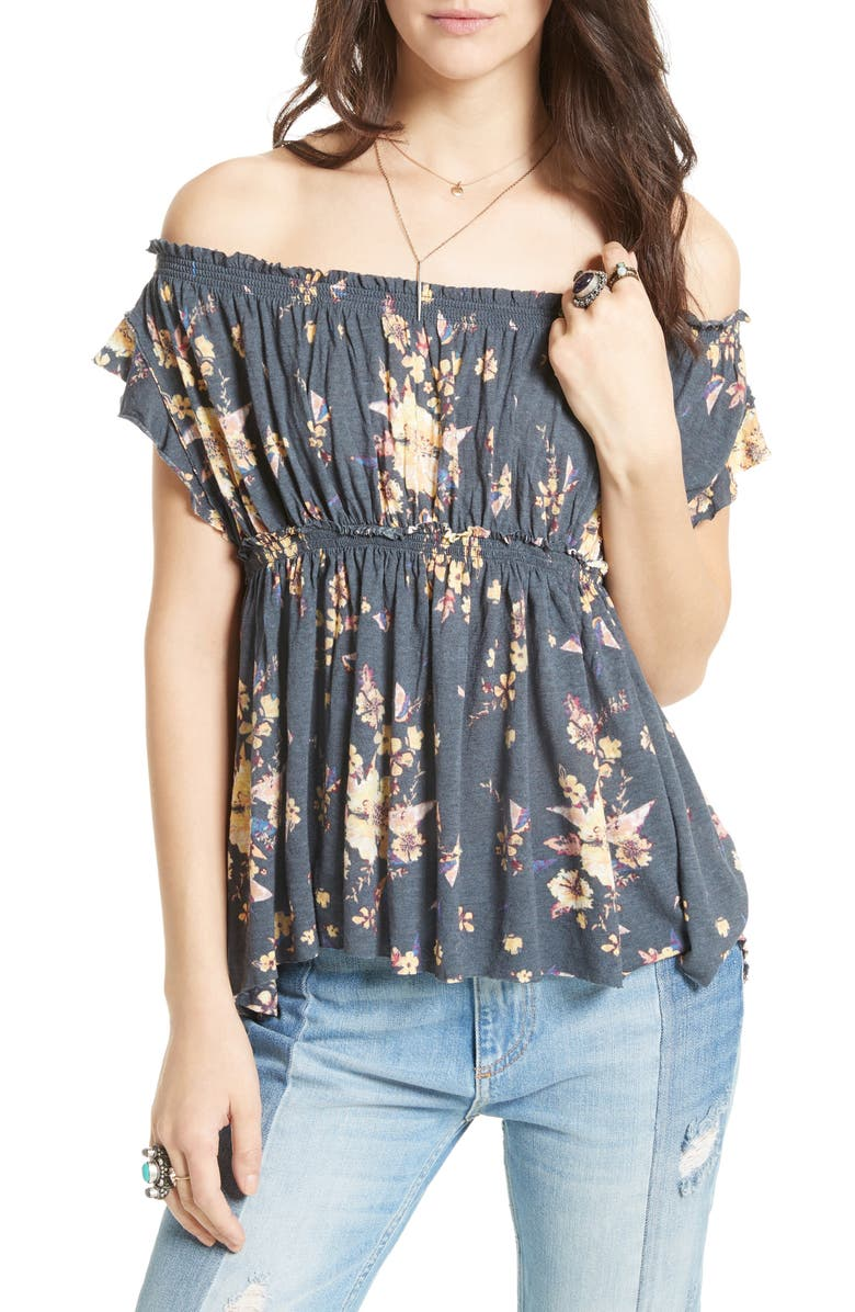 FREE PEOPLE Floral Off the Shoulder Top, Main, color, 410