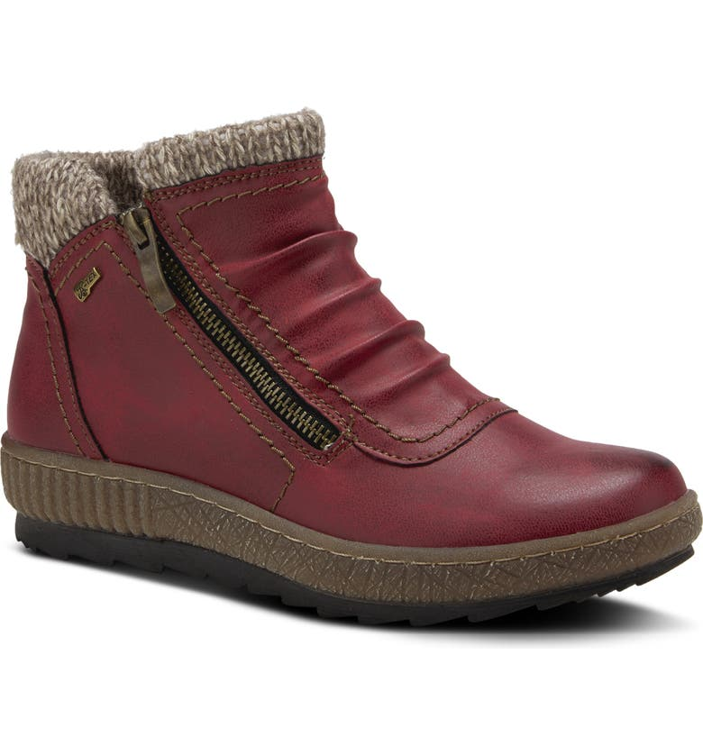 SPRING STEP Cleora Water Resistant Bootie, Main, color, BORDEAUX SYNTHETIC