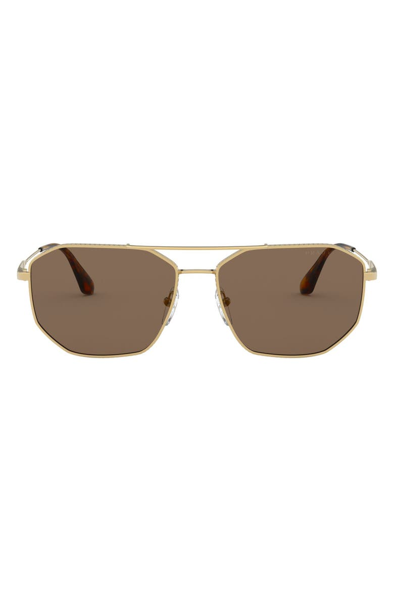 PRADA 57mm Rectangular Aviator Sunglasses, Main, color, GOLD/ BROWN