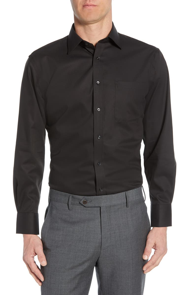 NORDSTROM MEN'S SHOP Nordstrom Mens Shop Traditional Fit Non-Iron Dress Shirt, Main, color, BLACK