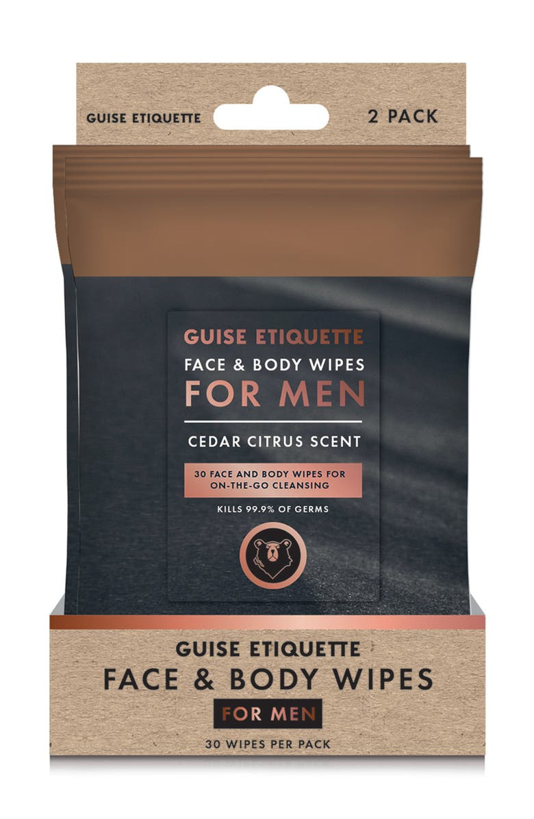GUISE ETIQUETTE Face and Body Wipes for Men - Pack of 2, Main, color, BLACK