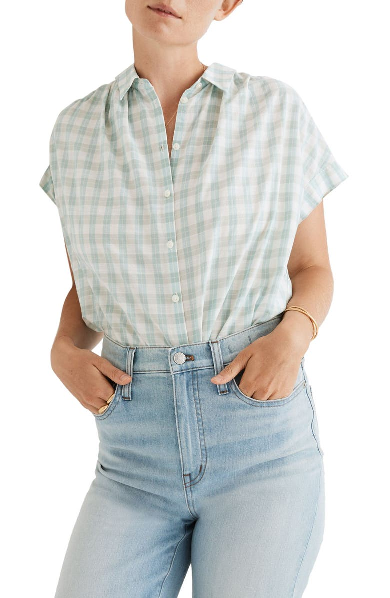 MADEWELL Central Shirt, Main, color, NEON CHECK GLASS GREEN