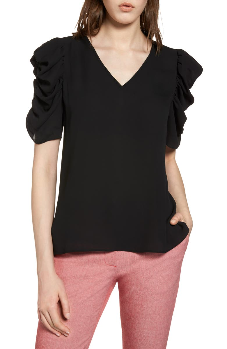 HALOGEN<SUP>®</SUP> Ruched Sleeve Blouse, Main, color, 001