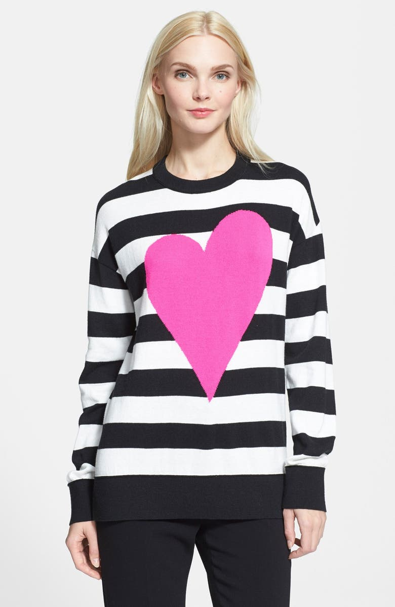 KATE SPADE NEW YORK heart stripe intarsia knit sweater, Main, color, 017