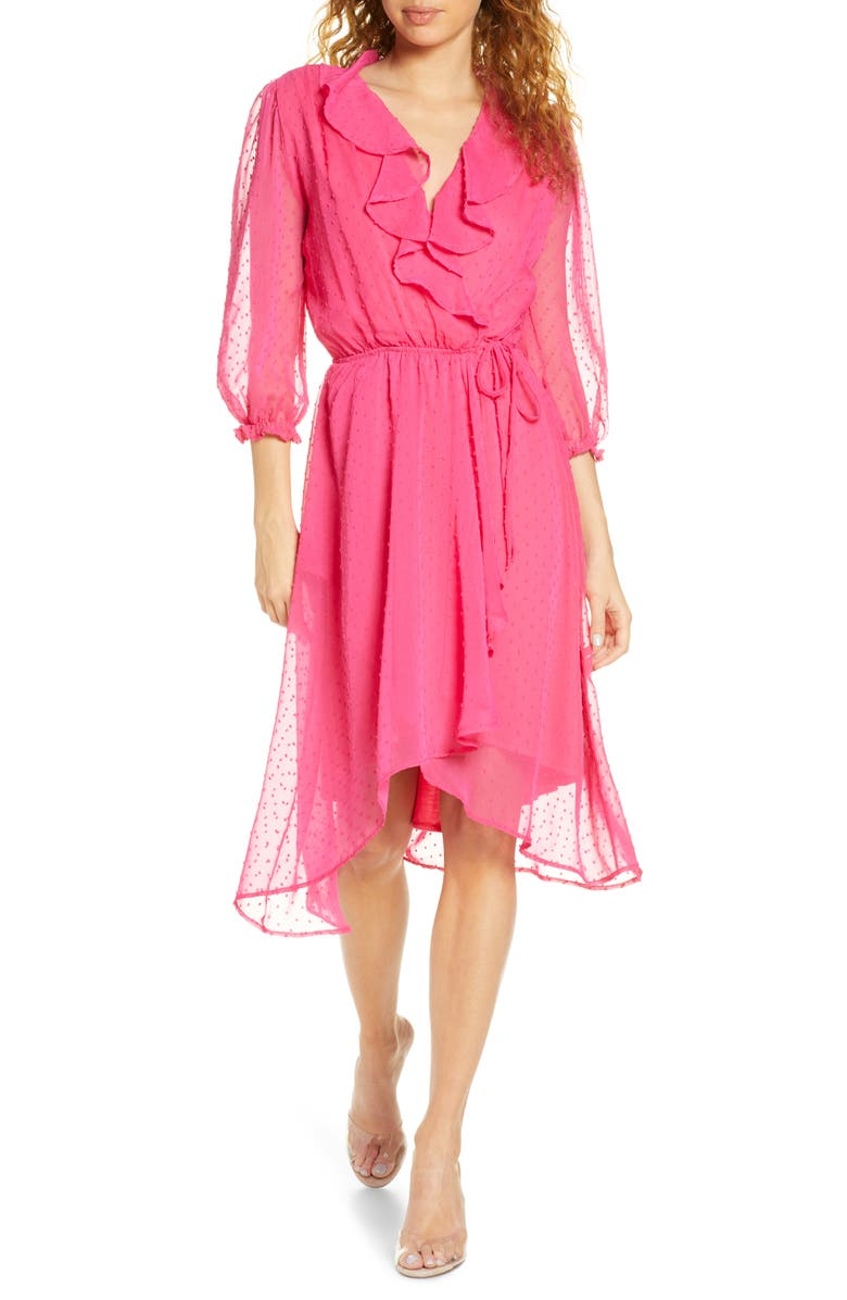 FRAICHE BY J Ruffle Clip Dot Chiffon Faux Wrap Dress, Main, color, 670