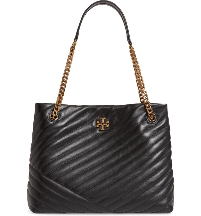 TORY BURCH Kira Chevron Quilted Leather Tote, Main, color, BLACK