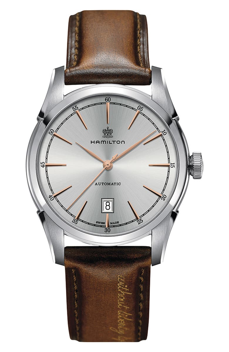 HAMILTON American Classic Automatic Leather Strap Watch, 42mm, Main, color, BROWN/ SILVER
