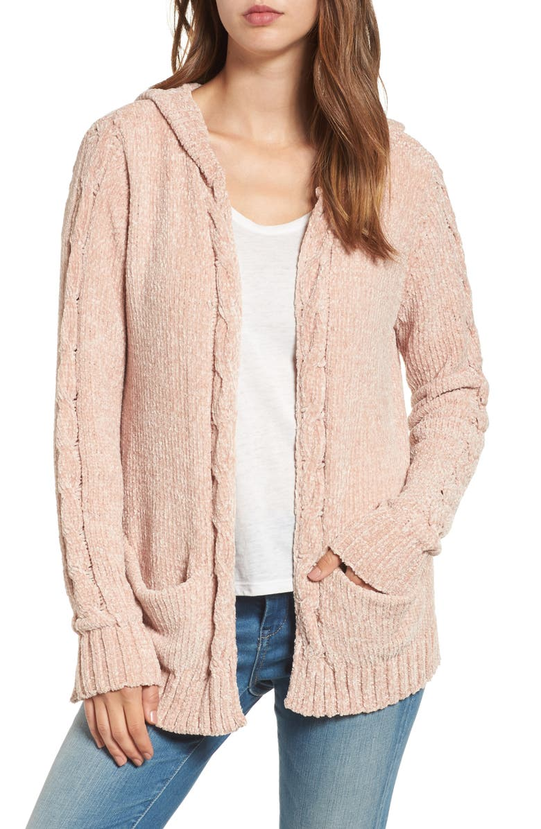 WOVEN HEART Chenille Hooded Cardigan, Main, color, 680