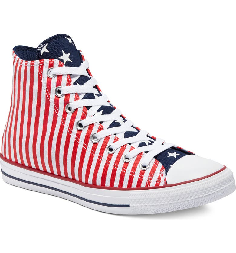 CONVERSE Chuck Taylor<sup>®</sup> All Star<sup>®</sup> High Top Sneaker, Main, color, WHITE/MIDNIGHT NAVY/UNIVERSITY