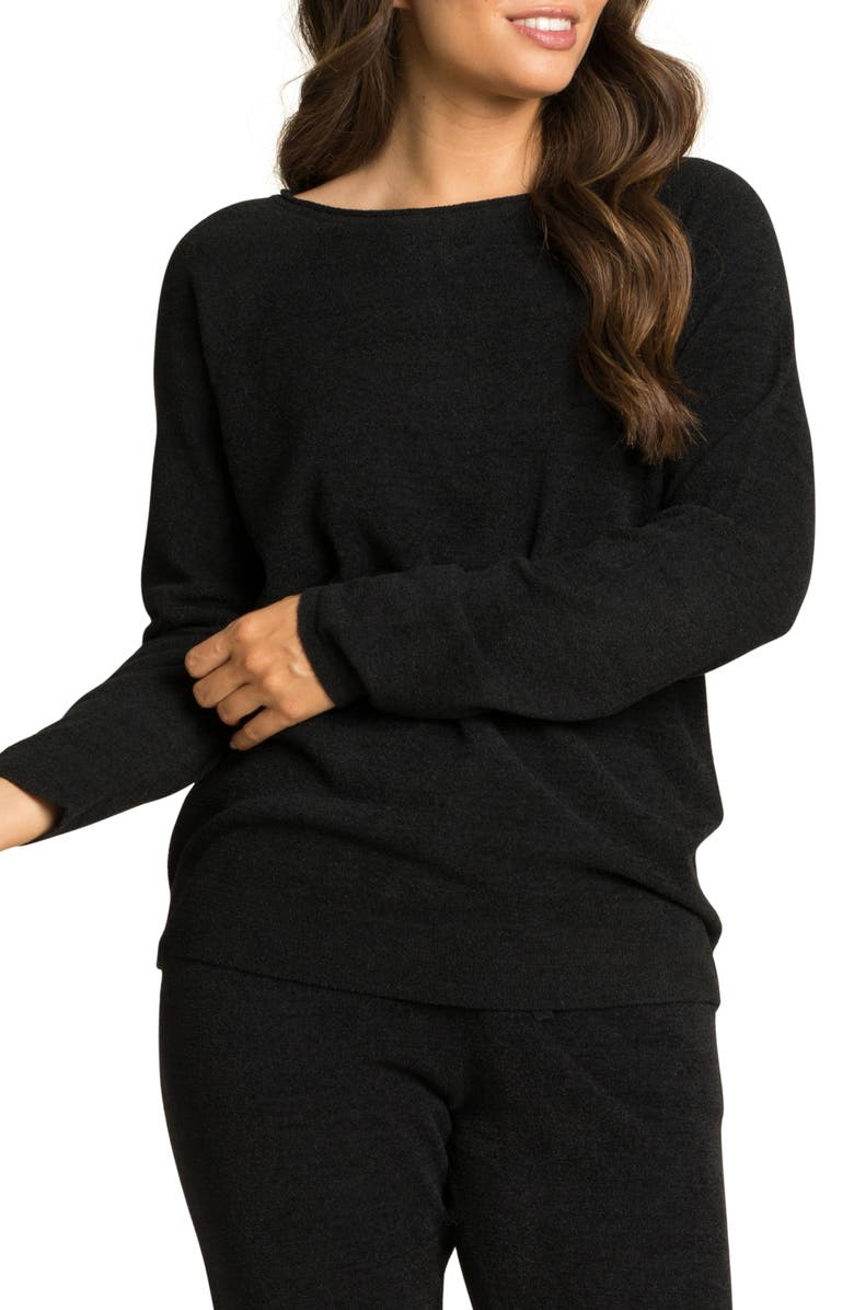 BAREFOOT DREAMS<SUP>®</SUP> CozyChic<sup>™</sup> Ultra Lite Rolled Neck Pullover, Main, color, BLACK