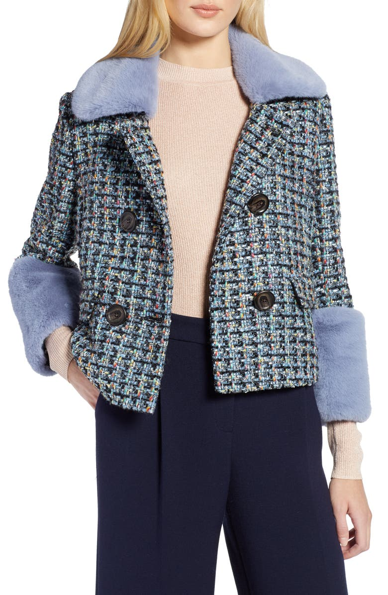 HALOGEN<SUP>®</SUP> x Atlantic-Pacific Tweed Jacket with Removable Faux Fur Trim, Main, color, 001