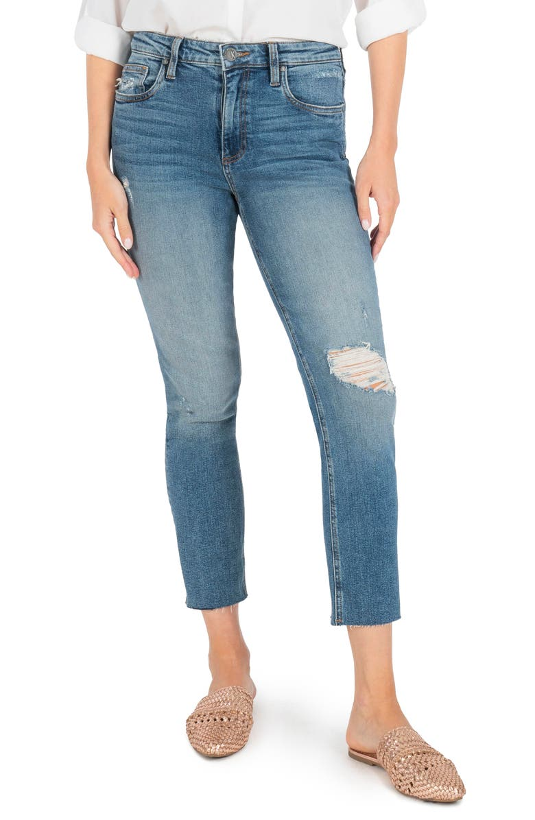 KUT FROM THE KLOTH Rachael Ripped Raw Hem Crop Mom Jeans, Main, color, NOTICABLE