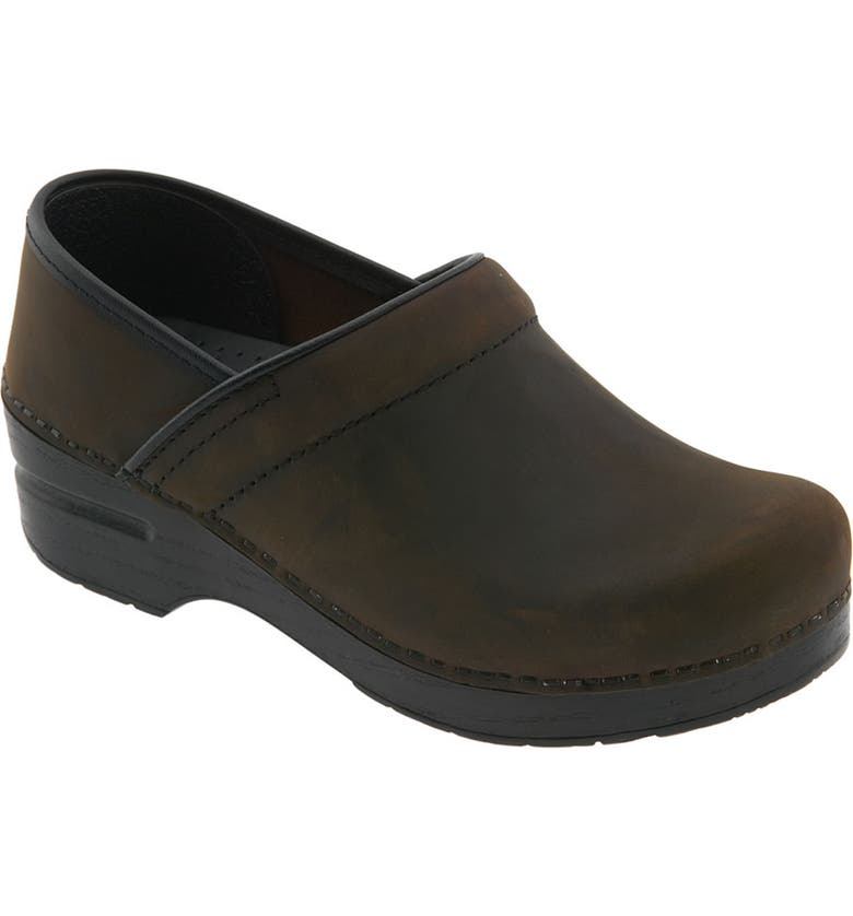 DANSKO 'Professional - Narrow' Oiled Leather Clog, Main, color, ANTIQUE BROWN OILED