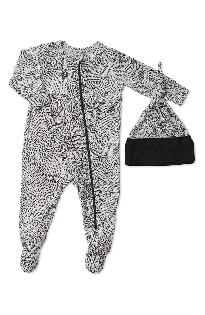 BABY GREY BY EVERLY GREY Jersey Footie & Hat Set, Main, color, TWILIGHT