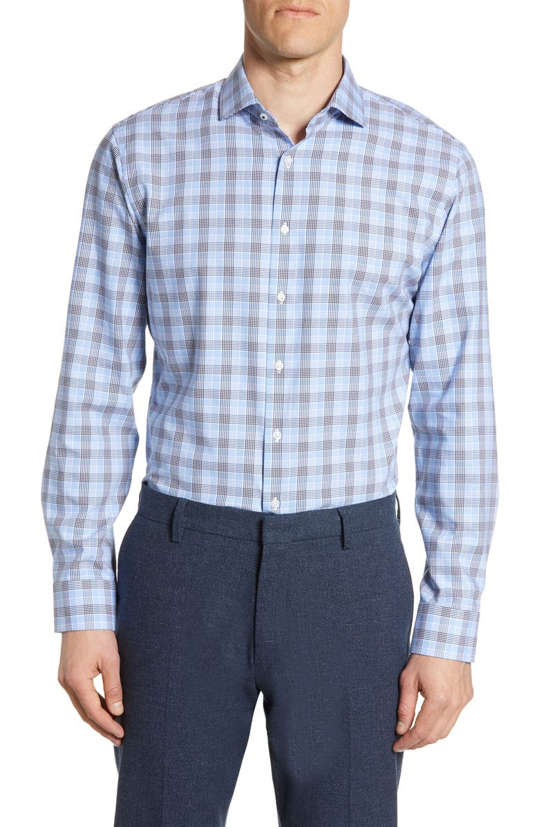 NORDSTROM MEN'S SHOP Tech-Smart Trim Fit Stretch Plaid Dress Shirt, Main, color, 420