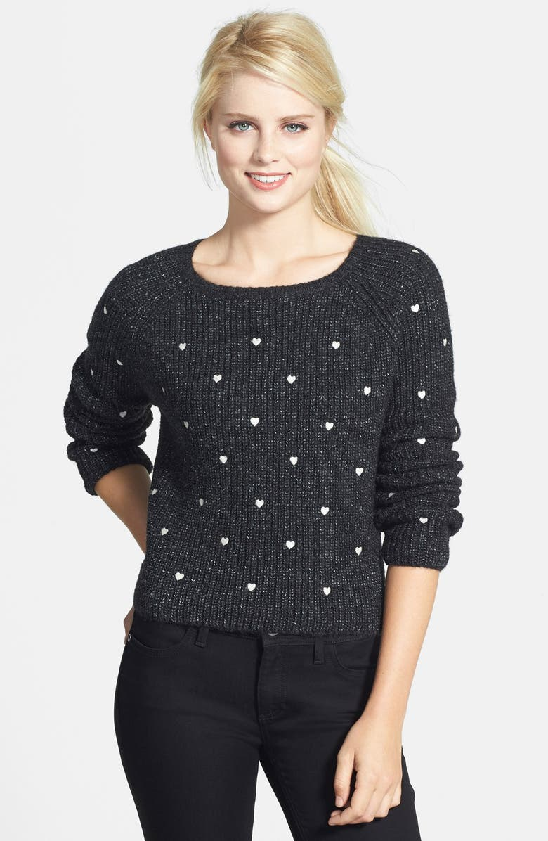 PRESS Embroidered Hearts Sweater, Main, color, 001