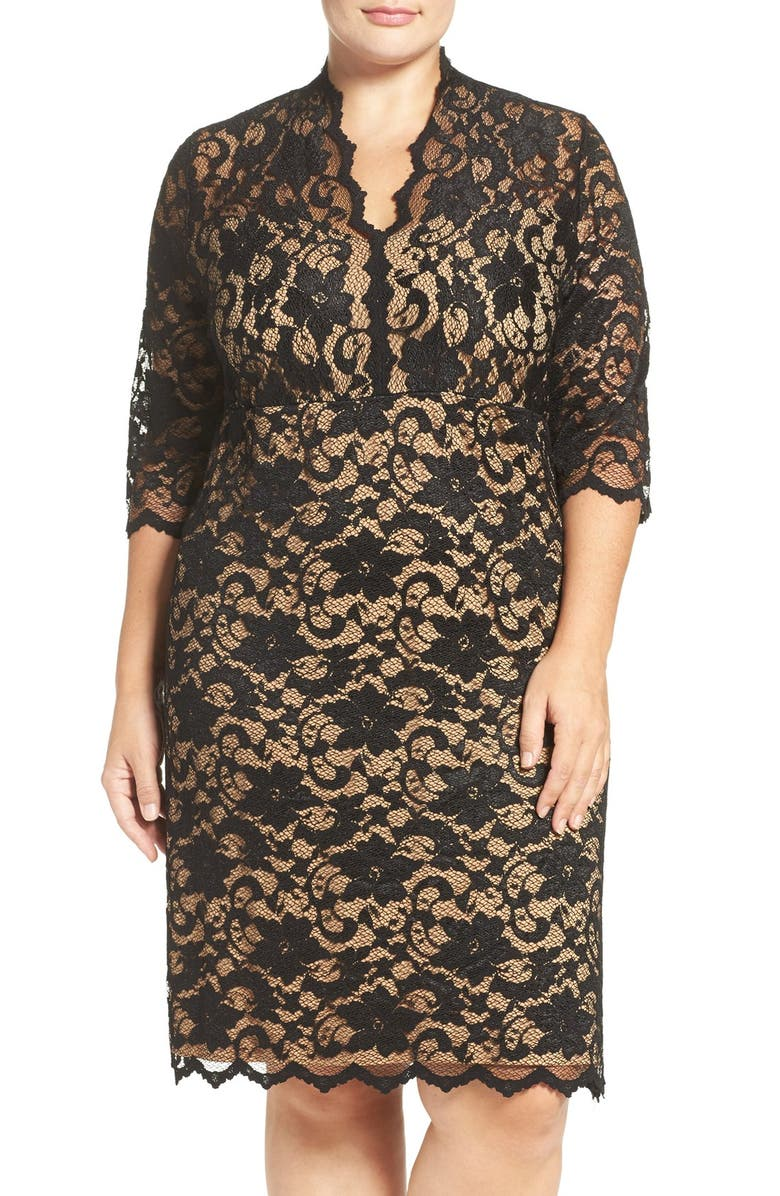 KAREN KANE Scalloped V-Neck Stretch Lace Dress, Main, color, BLACK/ NUDE