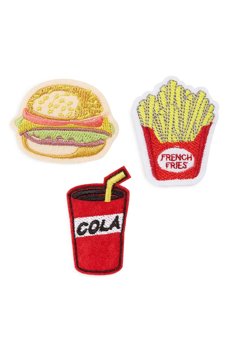 TOPSHOP 'Fast Food' Embroidered Brooches, Main, color, RED MULTI