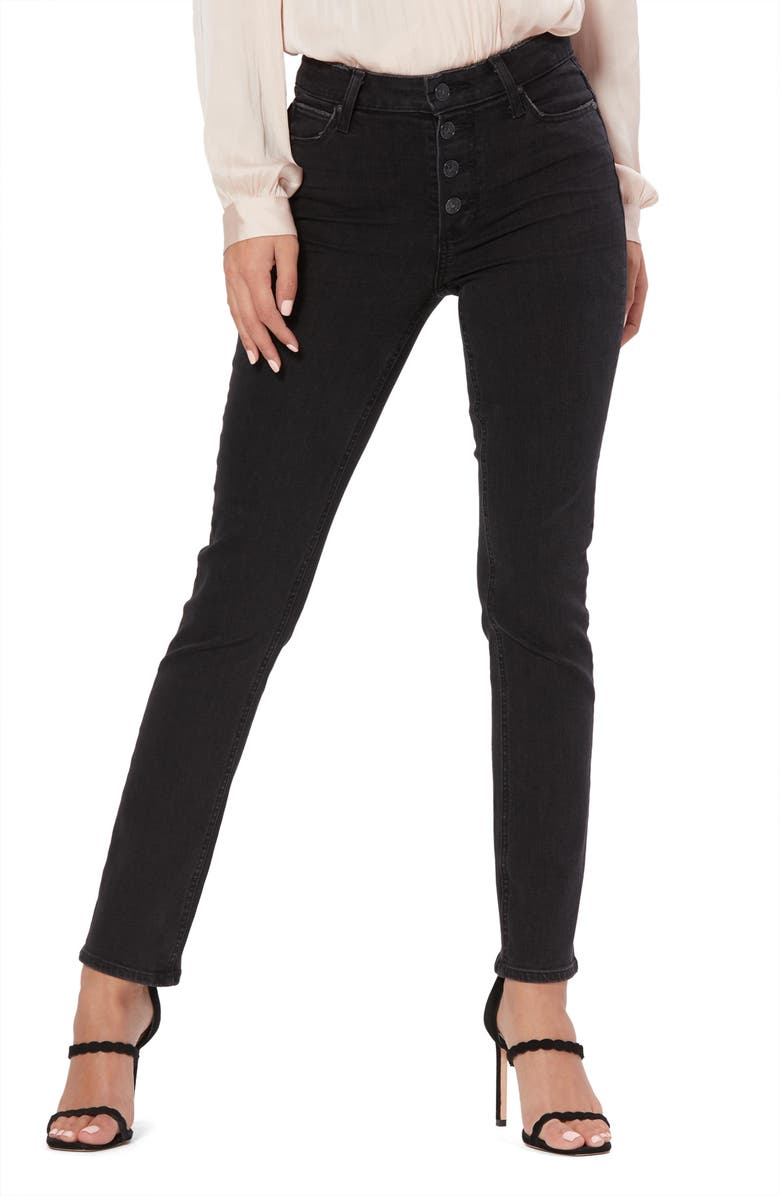 PAIGE Hoxton Exposed Button High Waist Ankle Skinny Jeans, Main, color, 001