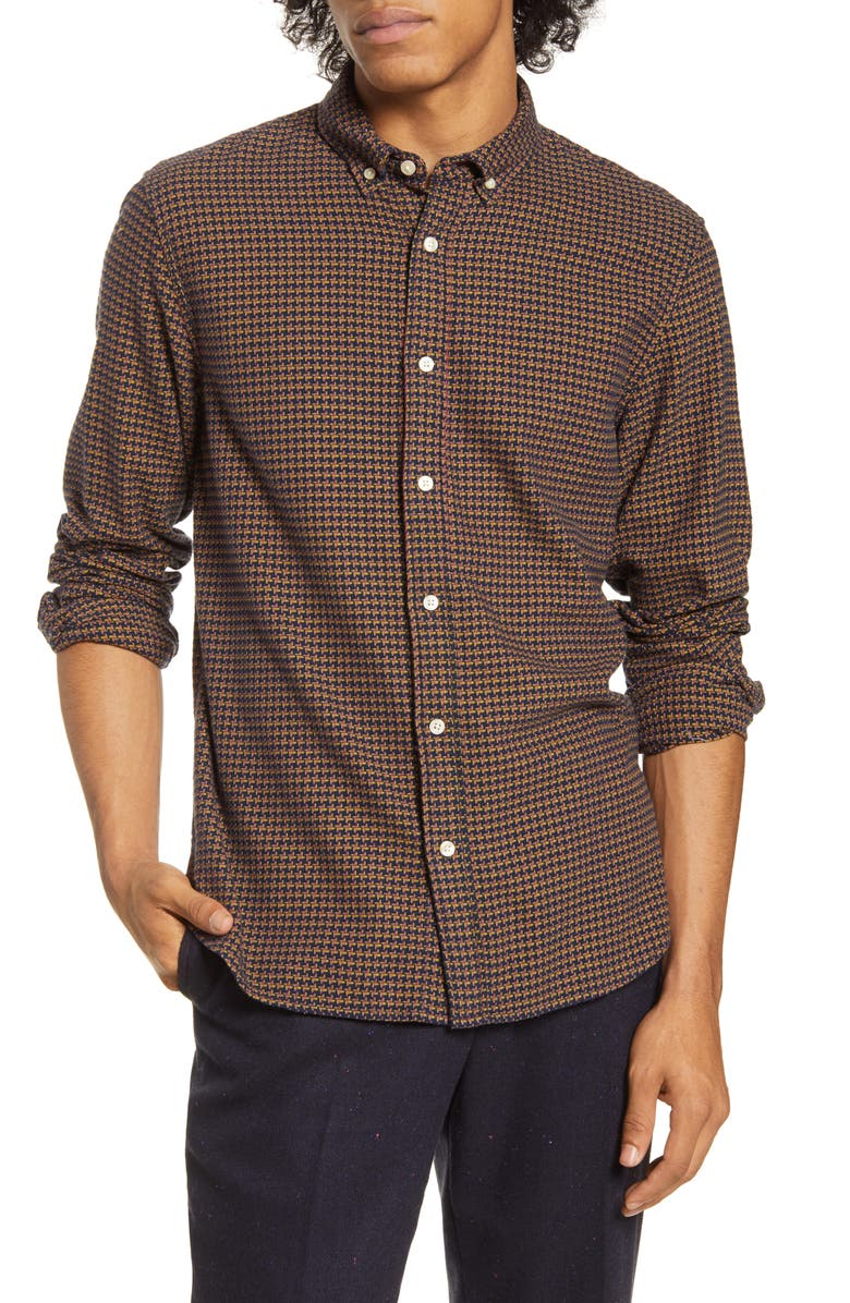 SCOTCH & SODA Slim Fit Print Button-Down Shirt, Main, color, 401
