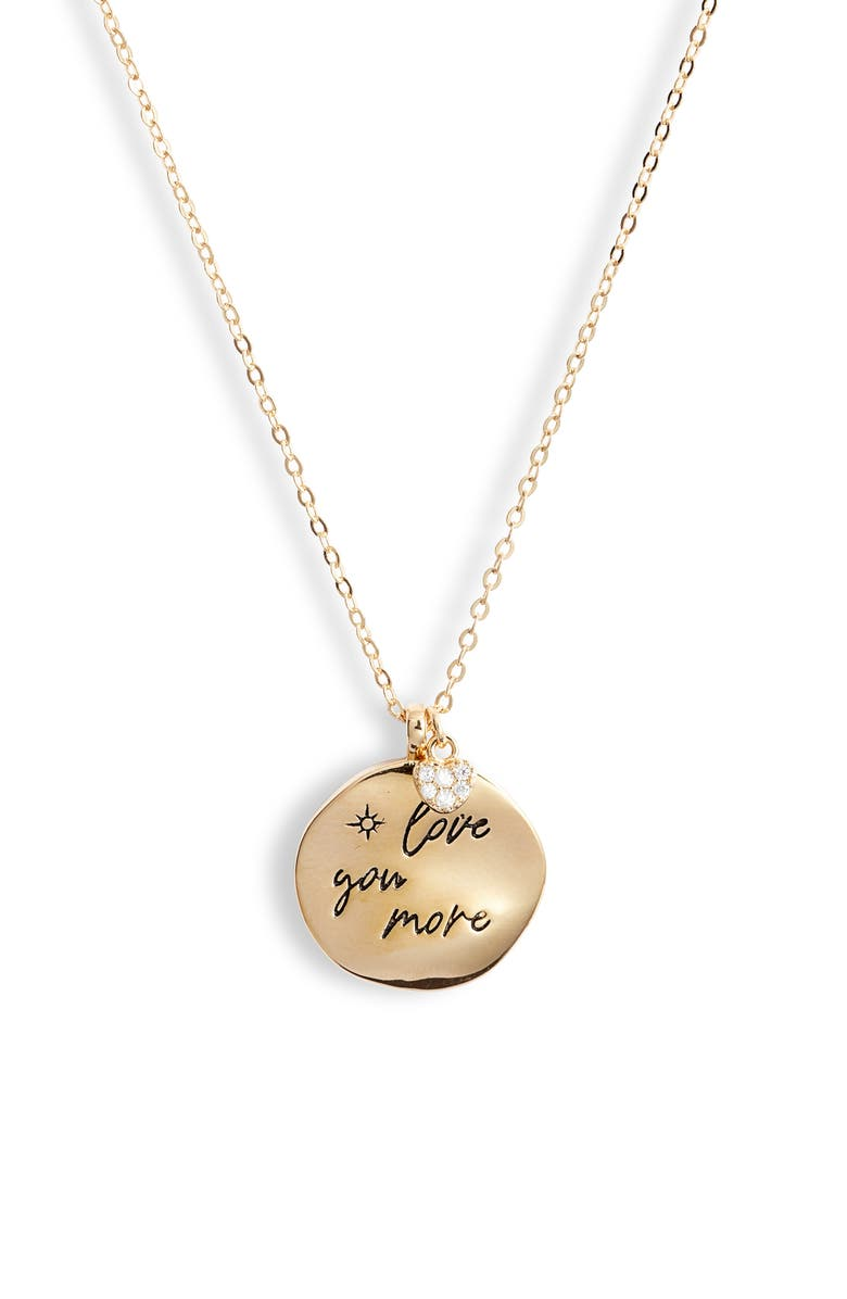 NORDSTROM Love Phrase Coin Pendant Necklace, Main, color, GOLD- LOVE YOU MORE