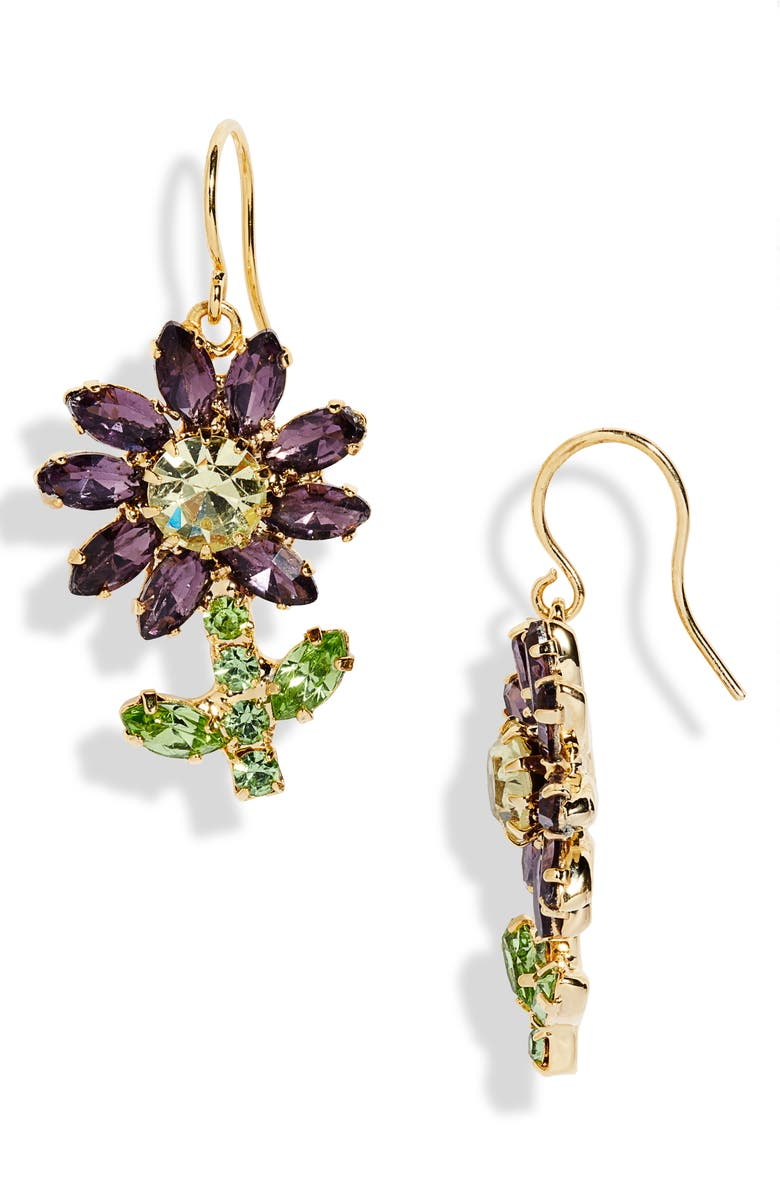 CRISTABELLE Fancy Flower Drop Earrings, Main, color, GOLD WITH MULTI COLORED STONES