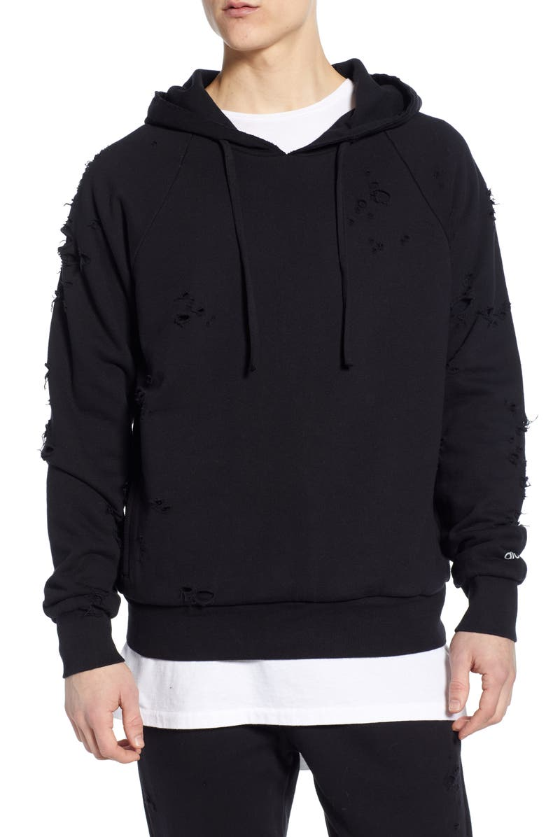 ALO Ripped Hooded Sweatshirt, Main, color, 001