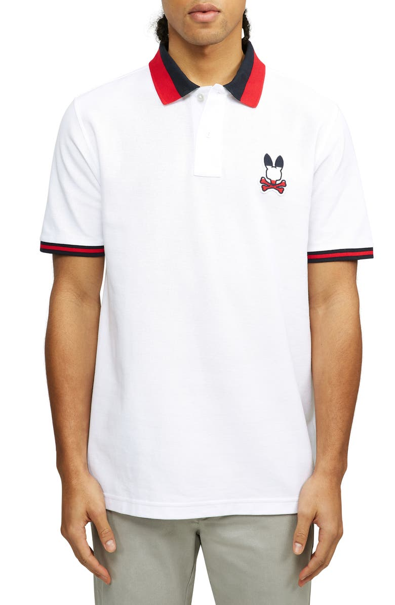 PSYCHO BUNNY Britania Short Sleeve Polo, Main, color, 100 WHITE