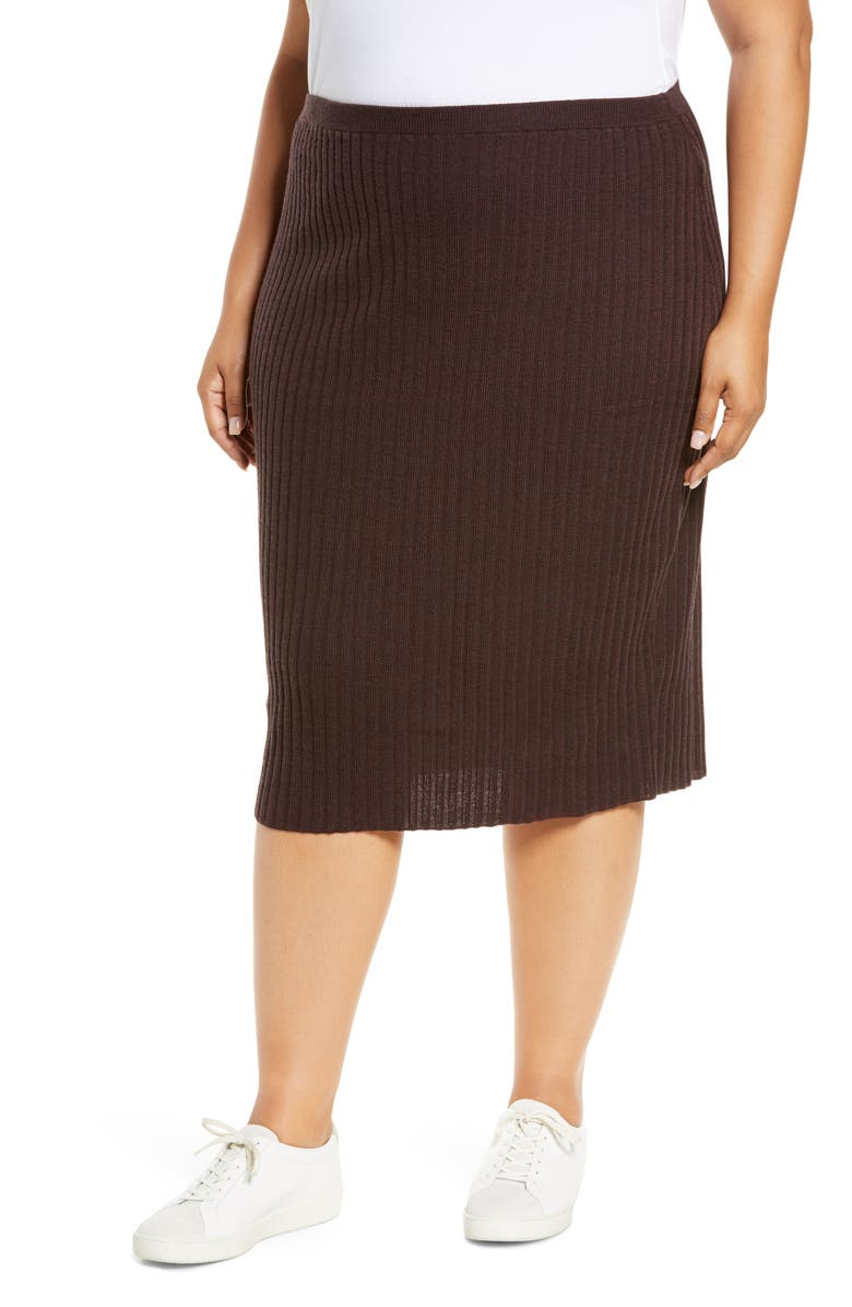 EILEEN FISHER Merino Wool Ribbed Pencil Skirt, Main, color, 222