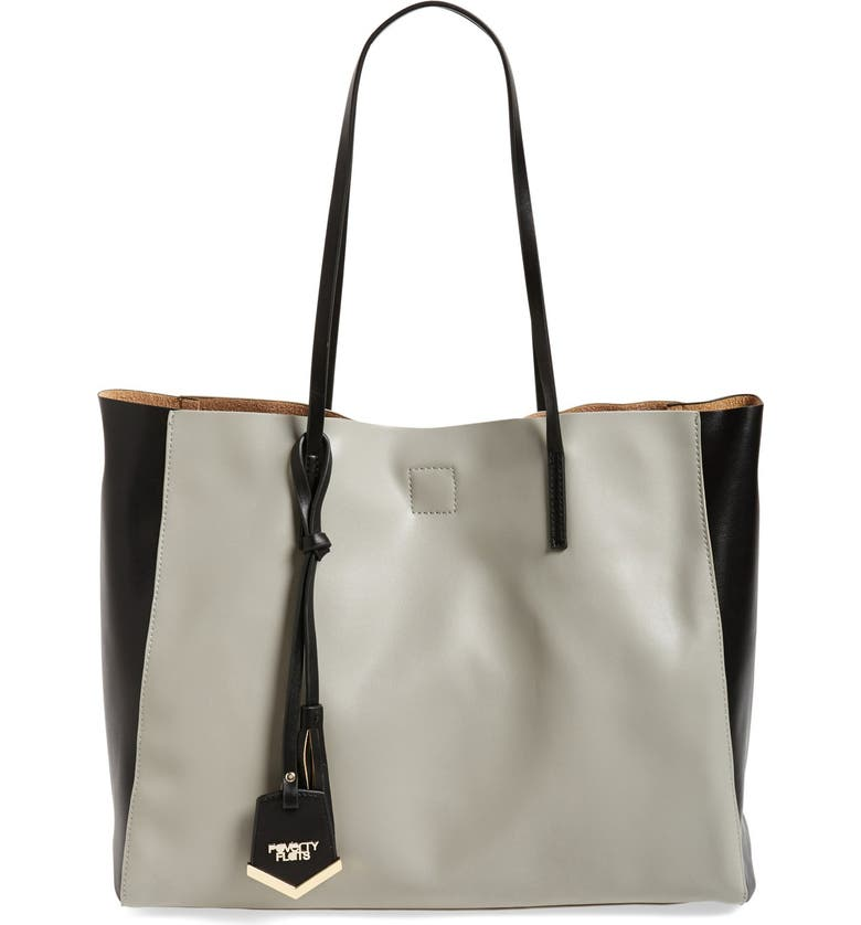 POVERTY FLATS BY RIAN 'Colorful' Colorblock Faux Leather Shopper, Main, color, 020