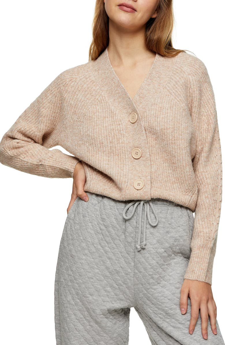 TOPSHOP Ribbed Cardigan, Main, color, OATMEAL