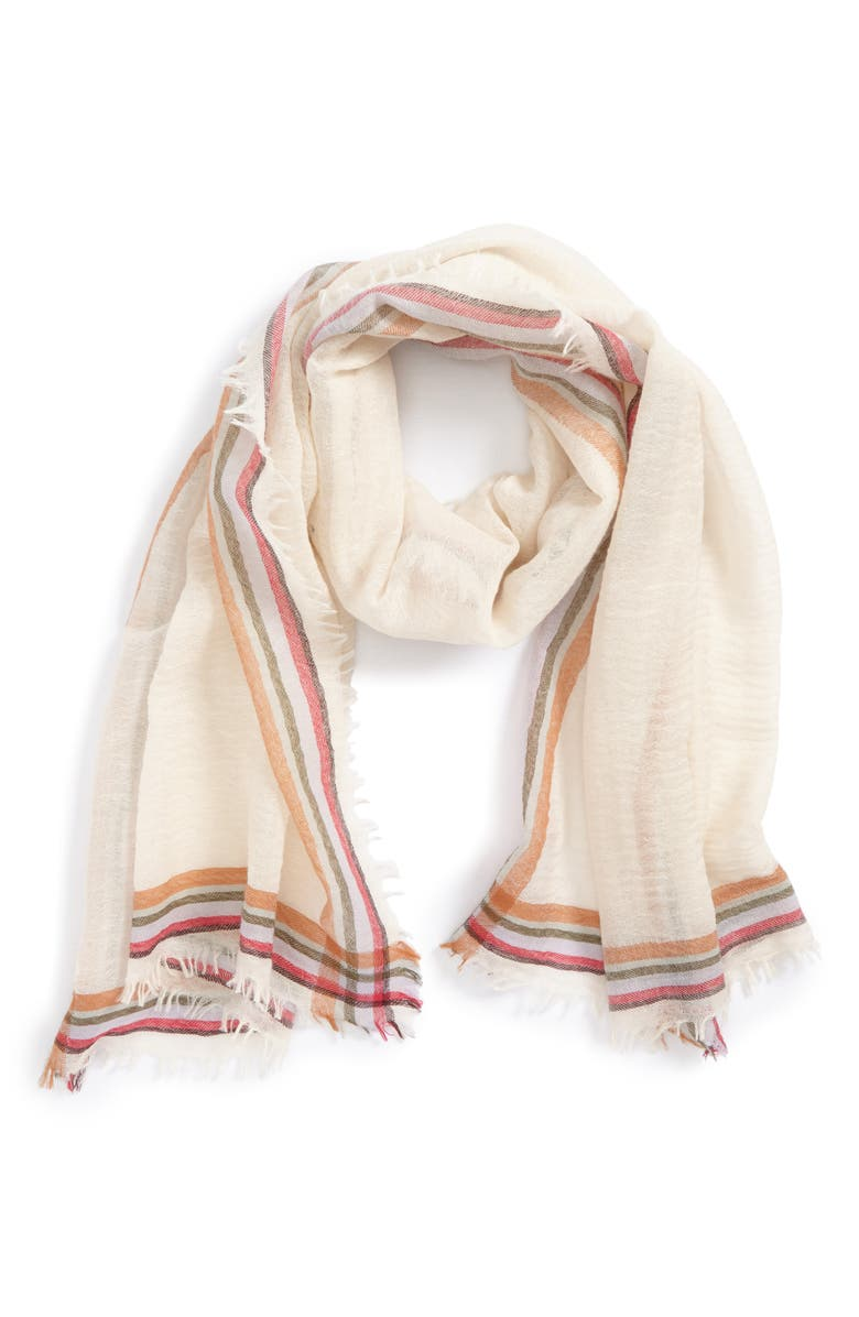 TORY BURCH 'Signature' Wool Scarf, Main, color, IVORY