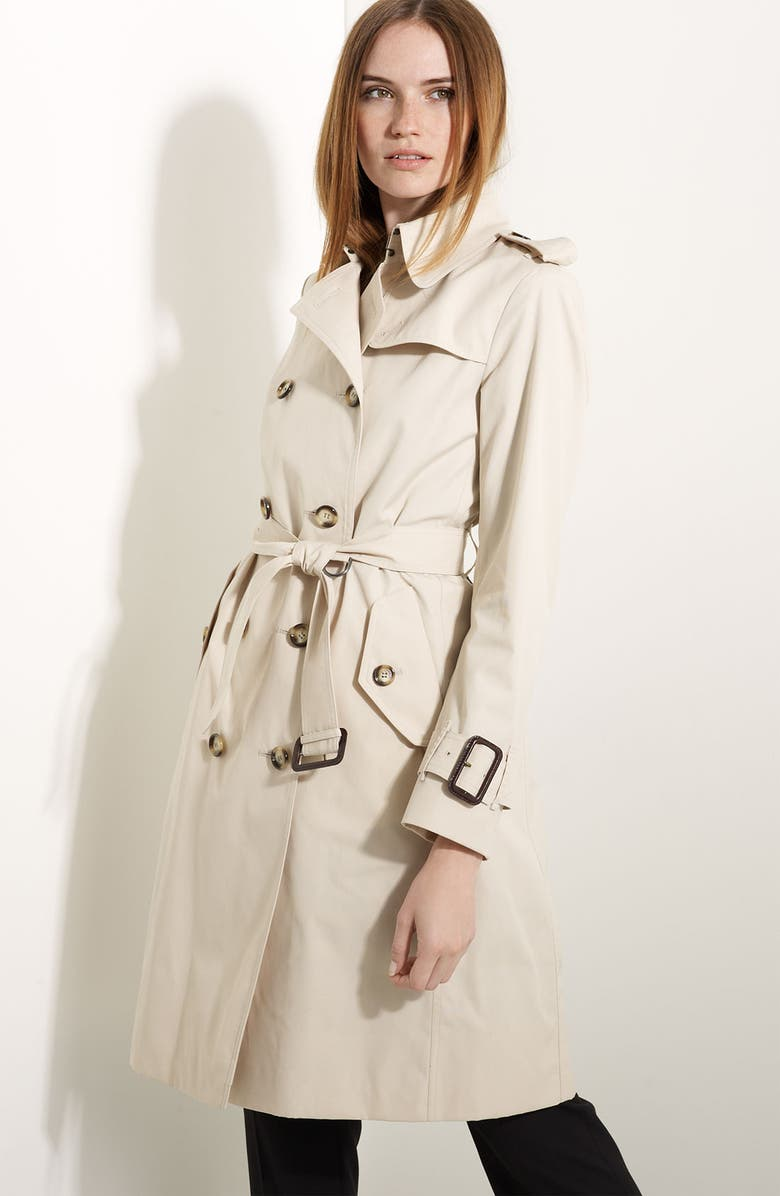 BURBERRY LONDON Poplin Belted Trench, Main, color, TRENCH