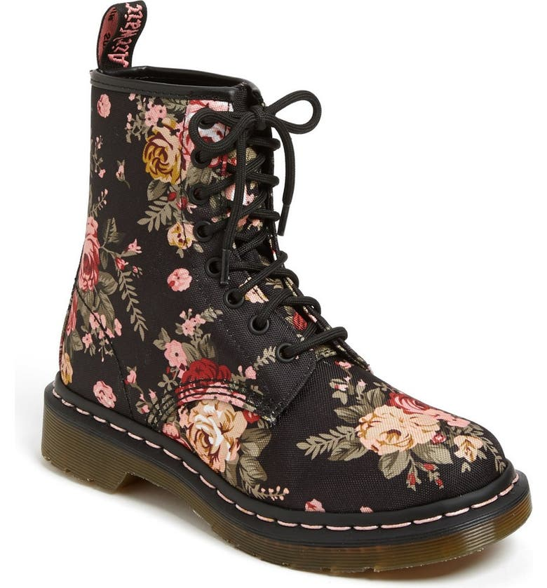 DR. MARTENS '8-Eye Victorian Flowers' Boot, Main, color, 001