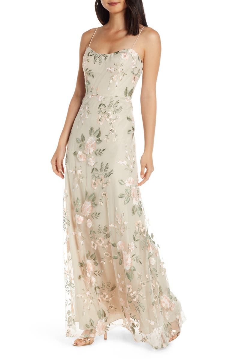 JENNY YOO Drew Floral Embroidered Tulle Evening Dress, Main, color, 250