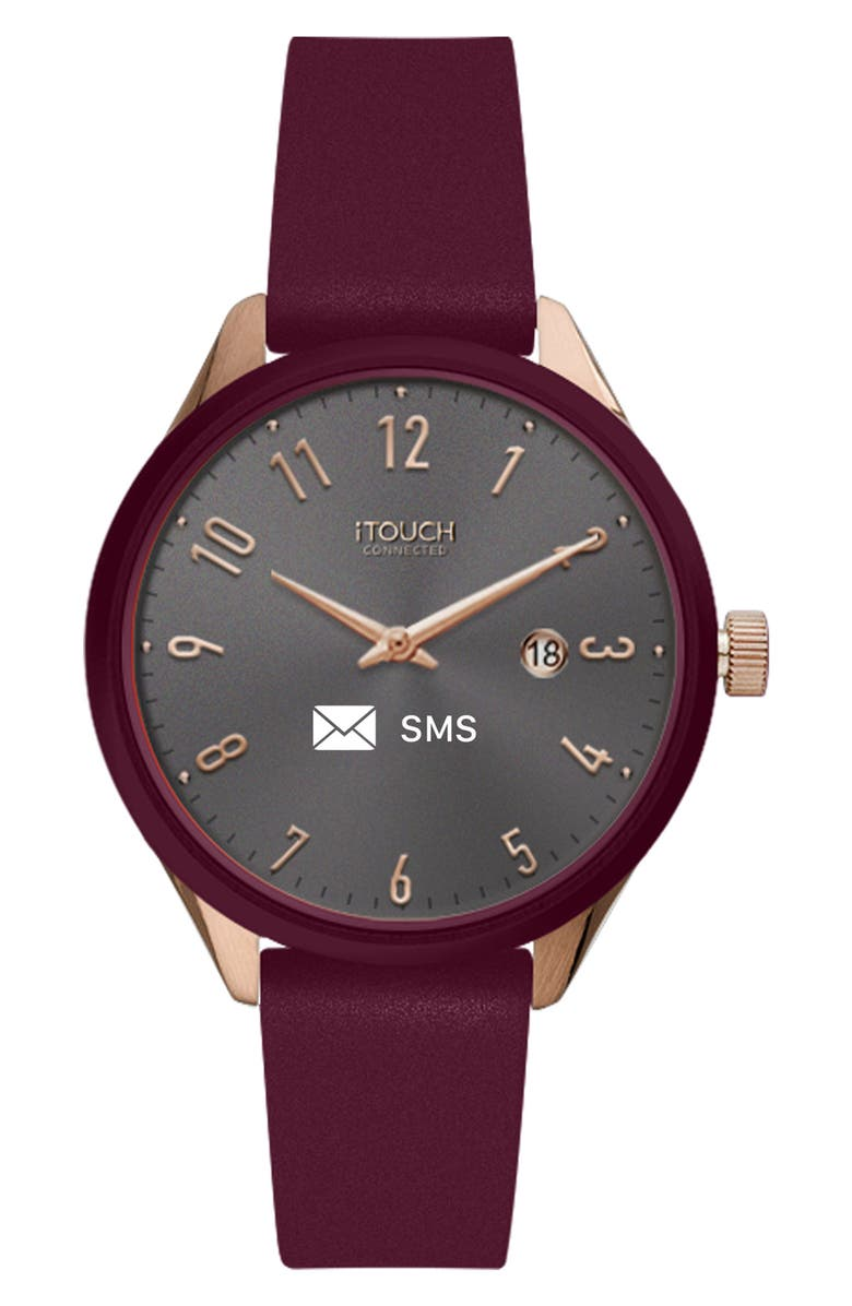 I TOUCH Women's iTouch Connected Hybrid Smartwatch Fitness Tracker: Rose Gold Case with Merlot Leather Strap, 38mm, Main, color, SILVER/BURGUNDY