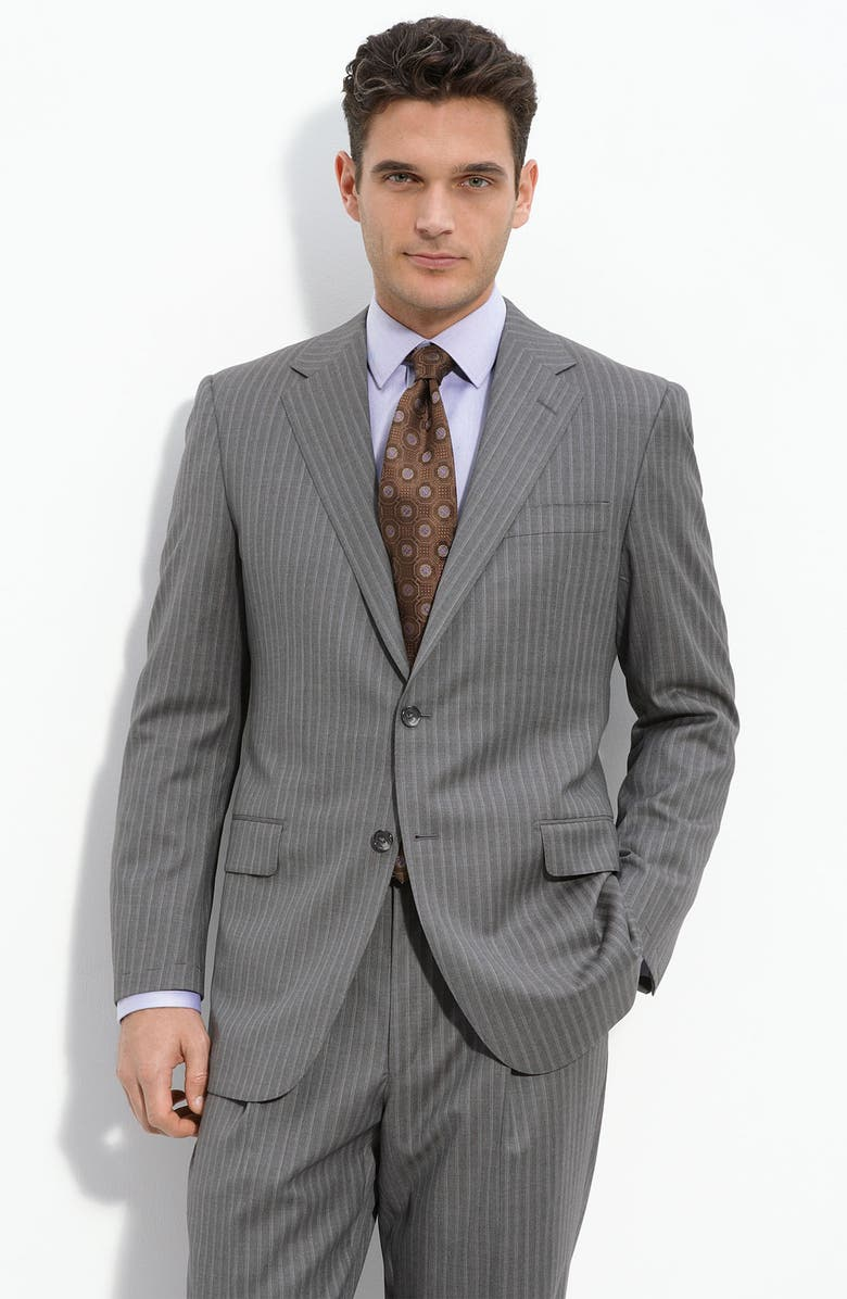 HICKEY FREEMAN Grey Stripe Worsted Wool Suit, Main, color, 020