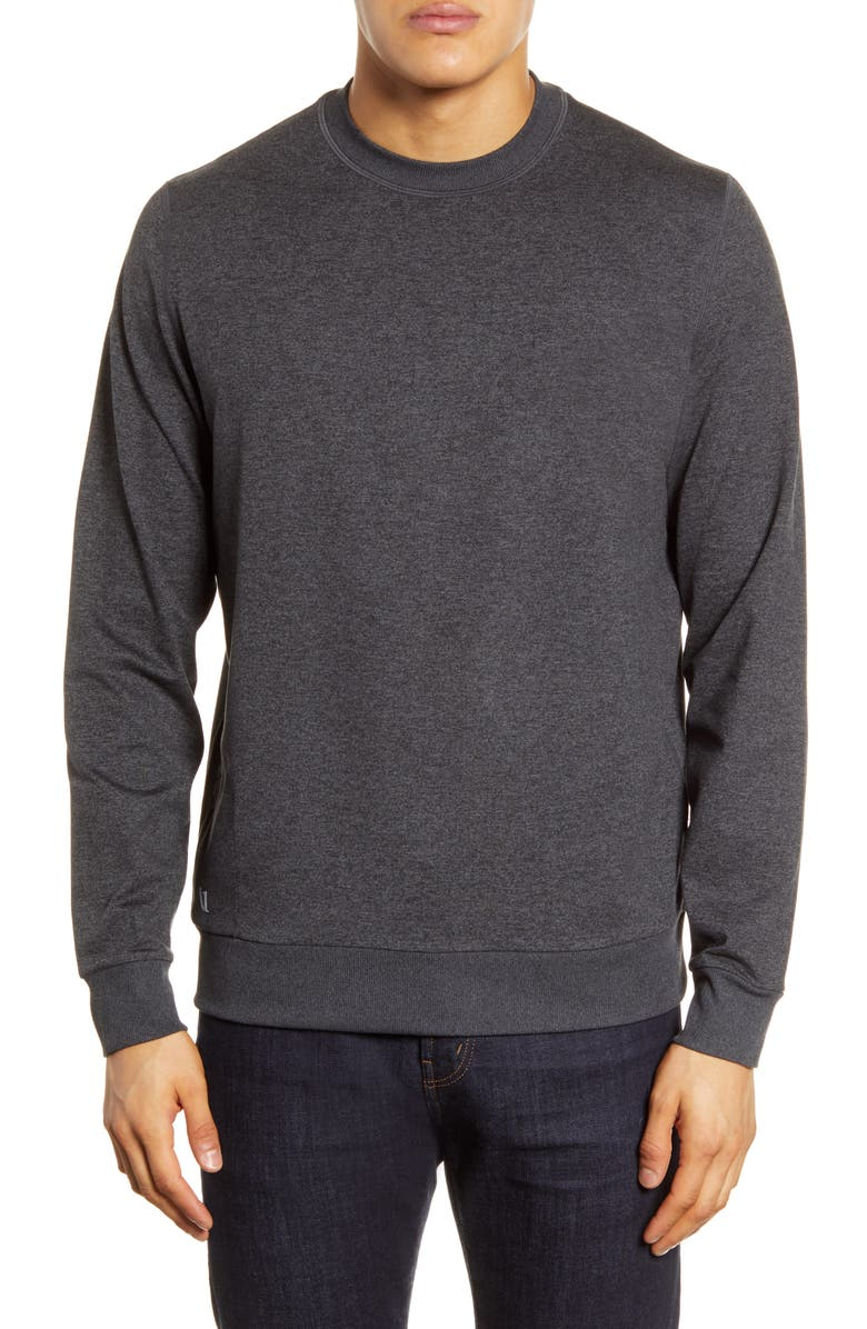 VUORI Ponto Performance Crew Pullover, Main, color, CHARCOAL HEATHER