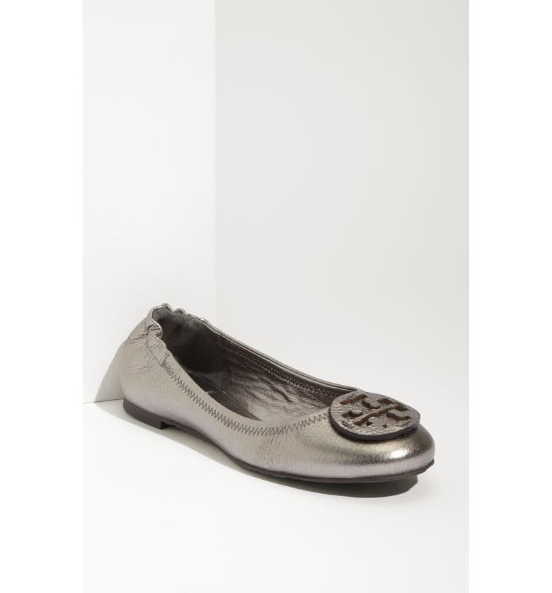 TORY BURCH 'Reva' Metallic Tumbled Flat, Main, color, 020