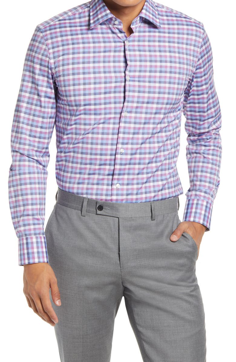 BOSS Jango Slim Fit Check Dress Shirt, Main, color, DARK PINK
