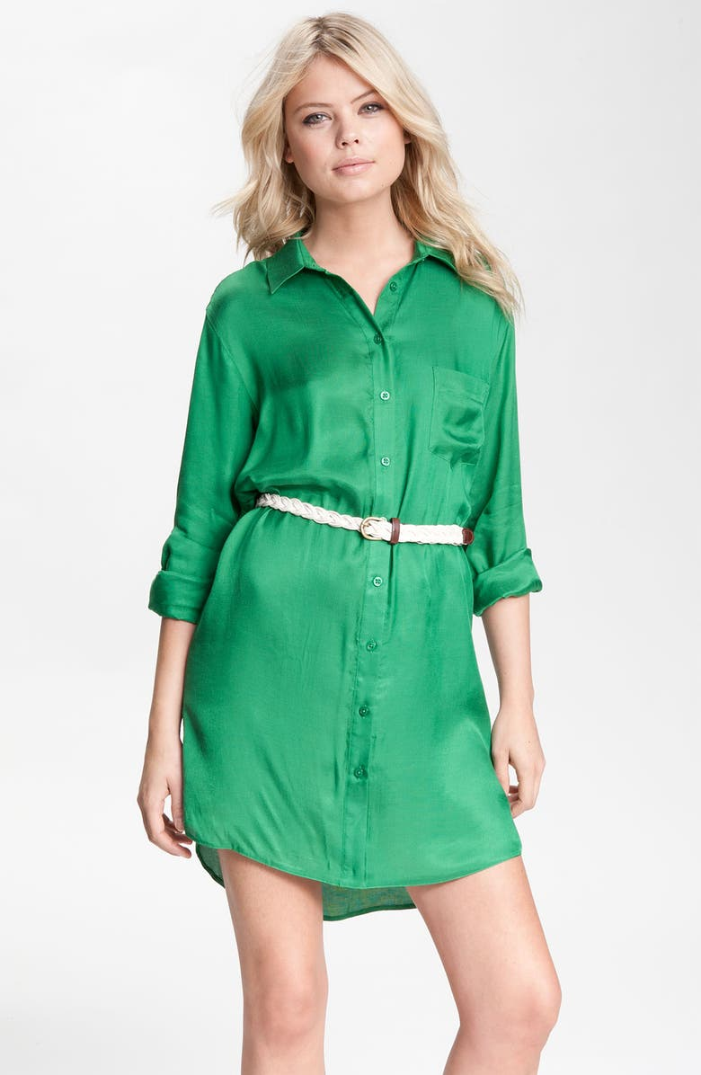 REMAIN Belted Shirtdress, Main, color, KELLY GREEN