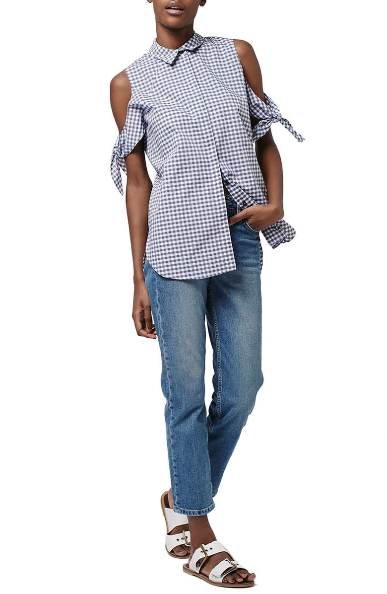 TOPSHOP Gingham Cotton Blend Cold Shoulder Shirt, Main, color, 400