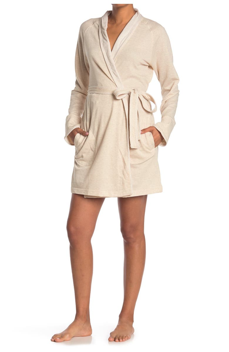 IZOD French Waist Tie Robe, Main, color, OATMEAL HTHR