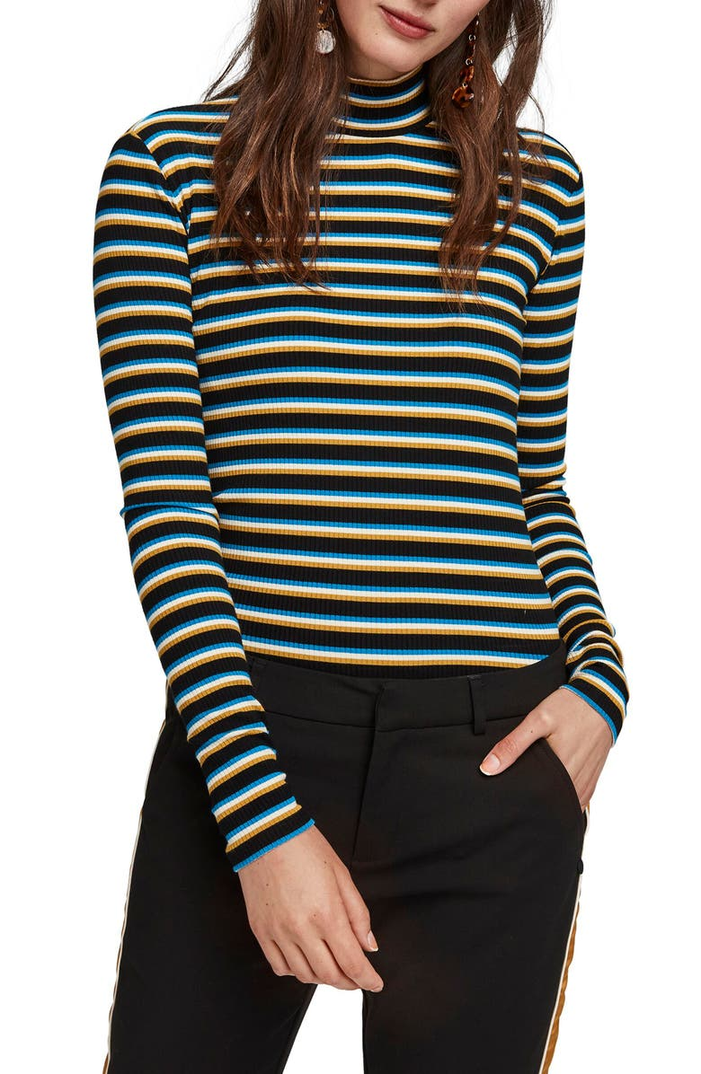 SCOTCH & SODA Stripe Ribbed Turtleneck Top, Main, color, 001