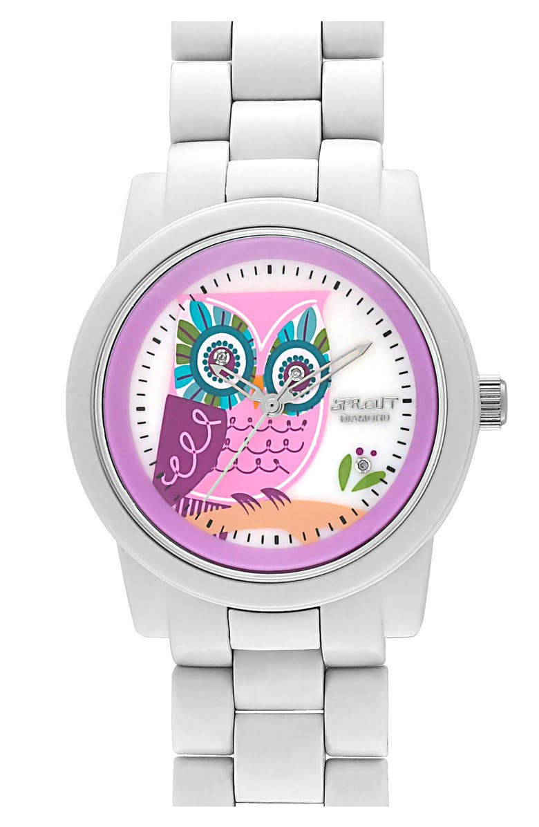 SPROUT<SUP>™</SUP> WATCHES Diamond Owl Watch, 37mm, Main, color, 100