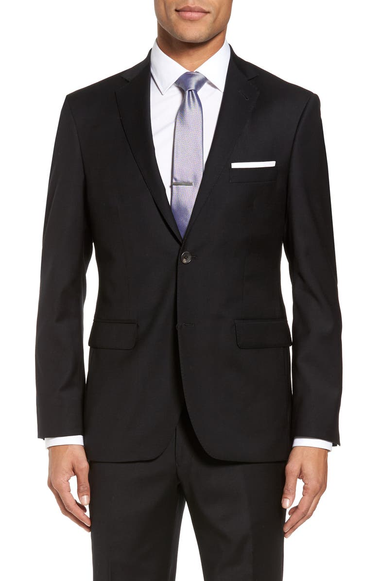 STRONG SUIT Trim Fit Stretch Solid Wool Blazer, Main, color, 001