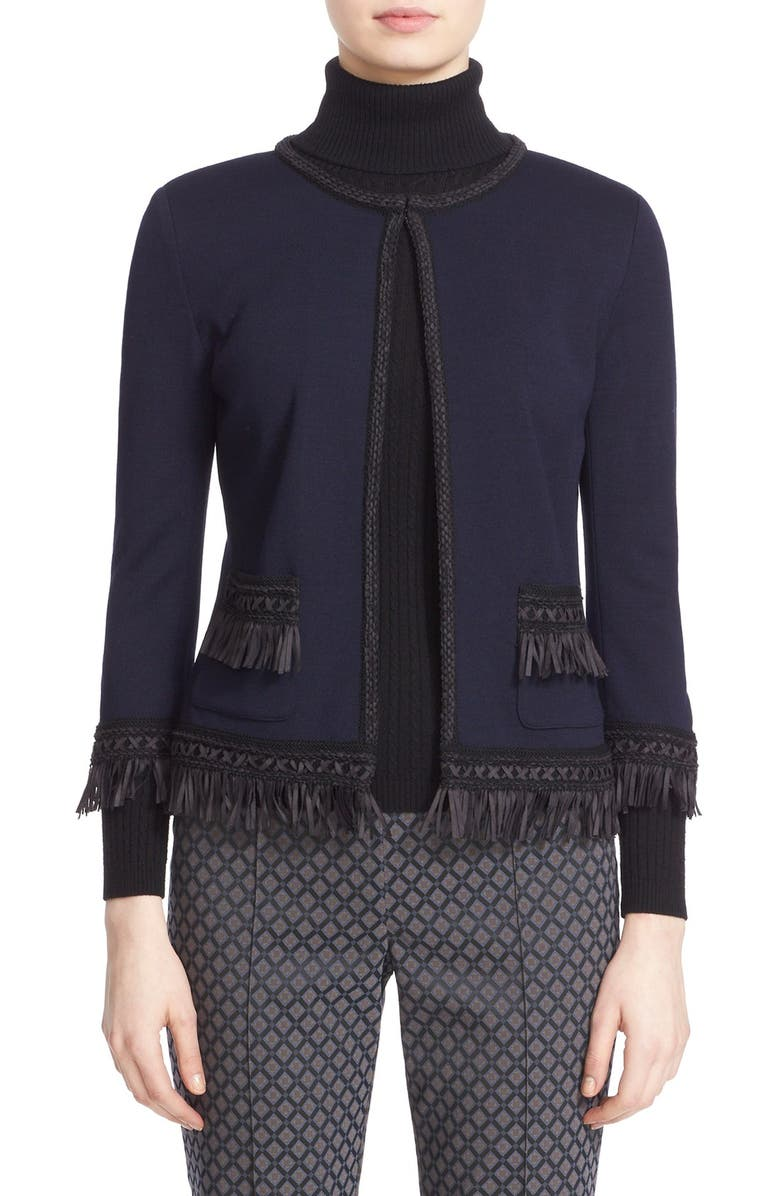 ST. JOHN COLLECTION Fringe Trim Milano Knit Jacket, Main, color, NAVY/CAVIAR